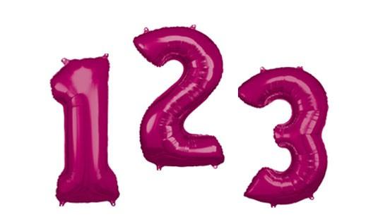 Pink nummer 1 folieballon 86cm