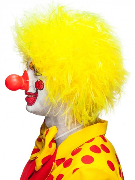 Perruque de clown tête bouclée jaune