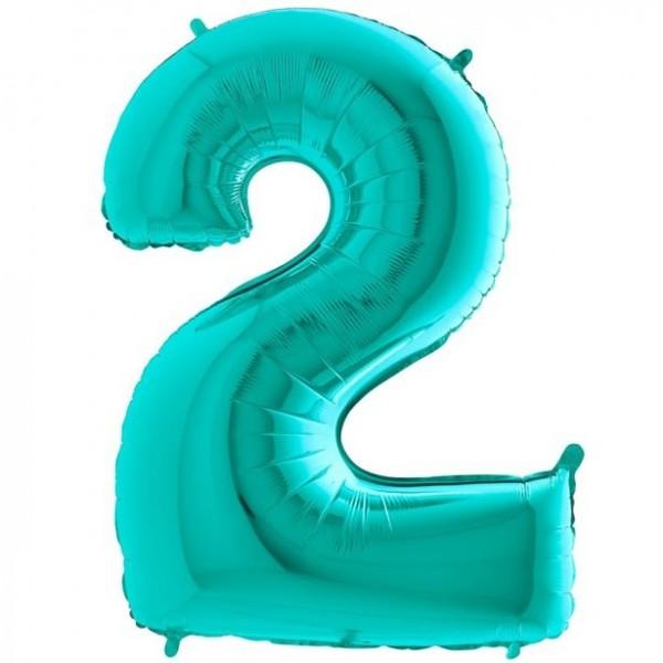 Number 2 foil balloon mint green 102cm