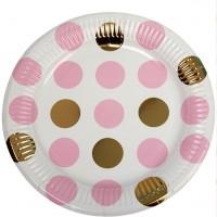 8 pink Dots Party Pappteller 23cm