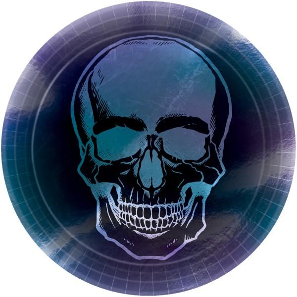 8 Shimmer Skull Halloween Teller rund 23cm