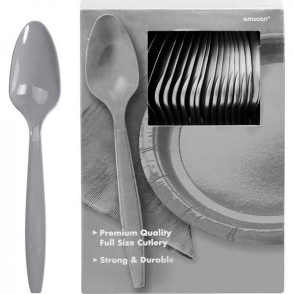 100 silver plastic spoons Glory 20cm