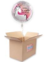 Schulstart Folienballon Einhorn 45cm