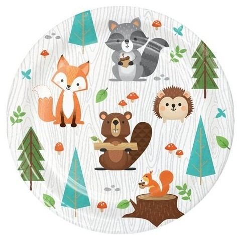 8 forest animals paper plates 18cm