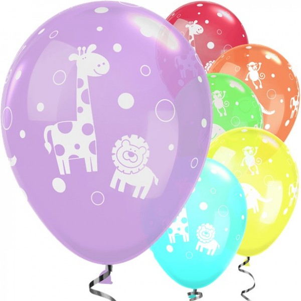 6 baby jungle animals balloons 28cm
