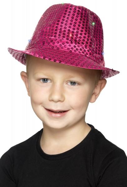 LED Pailletten Hut Pink
