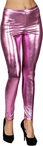 Glanzende legging in roze metallic