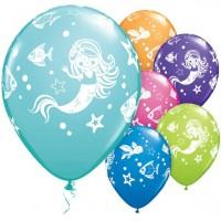 25 Meerjungfrau und Freunde Latexballons bunt 28cm