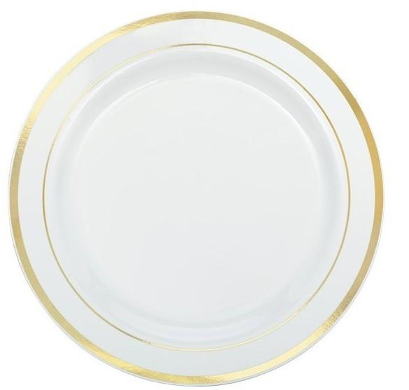 20 platos de plástico con borde de oro blanco 19cm