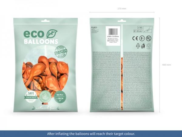 100 Eco metallic Ballons orange 30cm