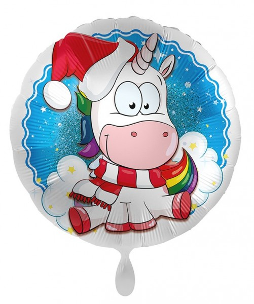 Ballon aluminium Licorne de Noël 45cm