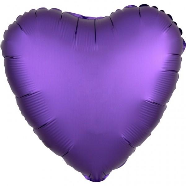 Foil balloon heart satin look purple