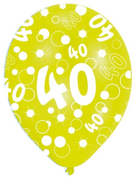6 Luftballons Bubbles 40.Geburtstag Bunt 27,5cm 5