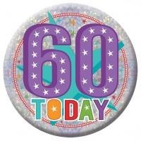 Holo 60th Birthday Button 15cm