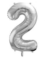 Folienballon Zahl 2 metallic silber 86cm