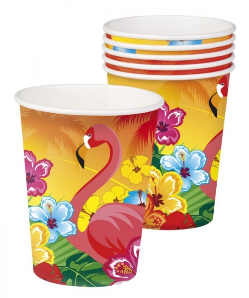 6 vasos de papel Flamingo Hawaii 250ml