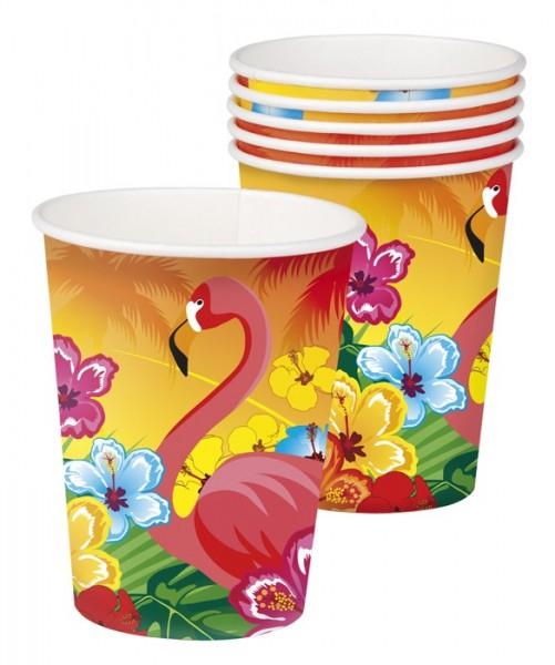 6 Flamingo Hawaii Pappbecher 250ml