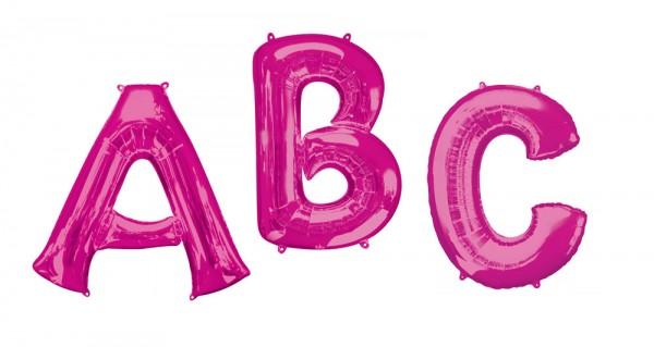 Folie ballon bogstav En lyserød XL 86cm