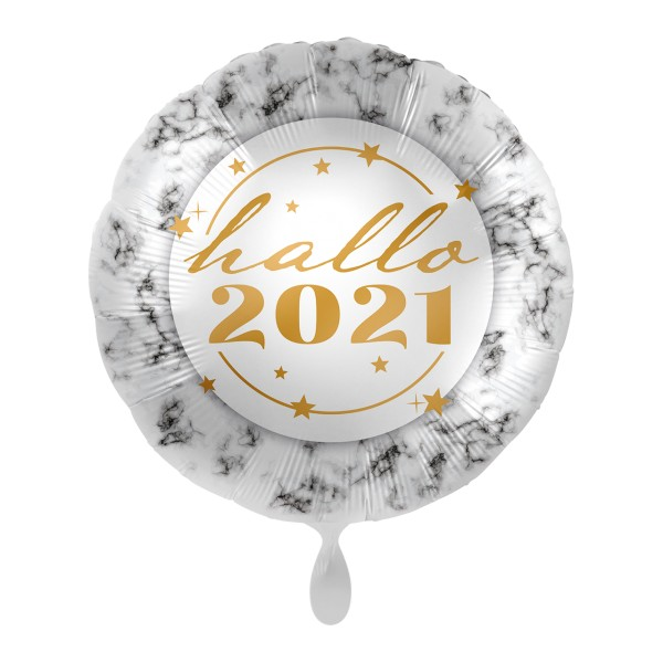 Hallo 2021 Silvester Folienballon 45cm