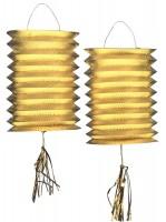 2 Goldene metallic Zuglaternen 25cm