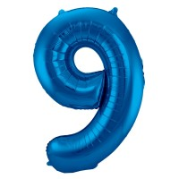 XXL Zahlenballon 9 Blau 86cm