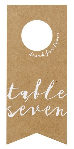 10 table numbers, bottle labels 8 x 18.5cm