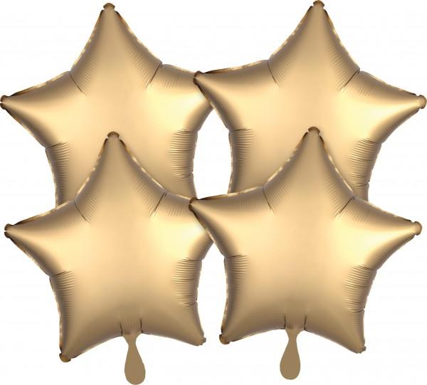 4 golden satin star balloons