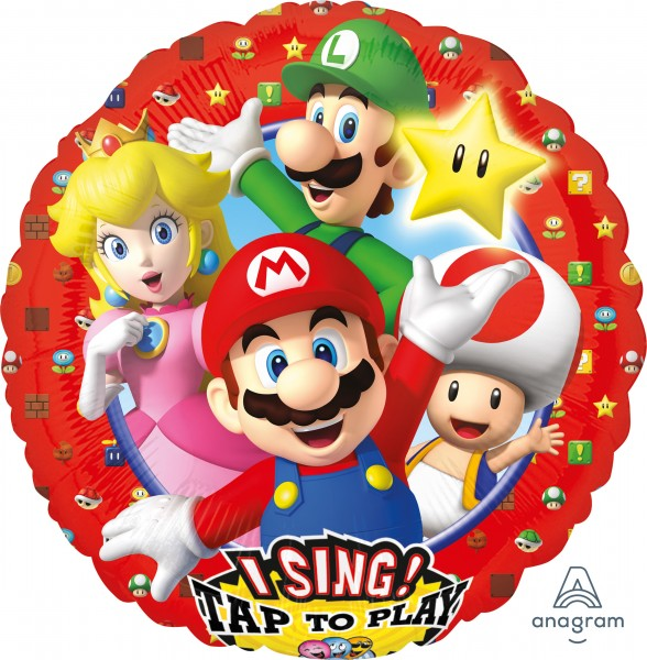 Ballon aluminium Super Mario Party avec son