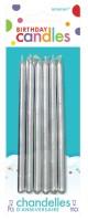 12 Geburtstagskerzen Shiny Silver 12,7cm
