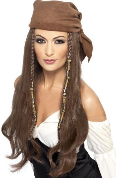 Perruque de cheveux longs pirate marron avec un foulard