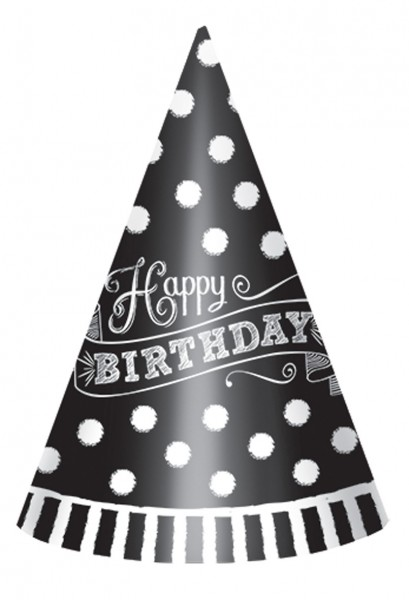 Black & White Party hat Happy Birthday 12 pieces