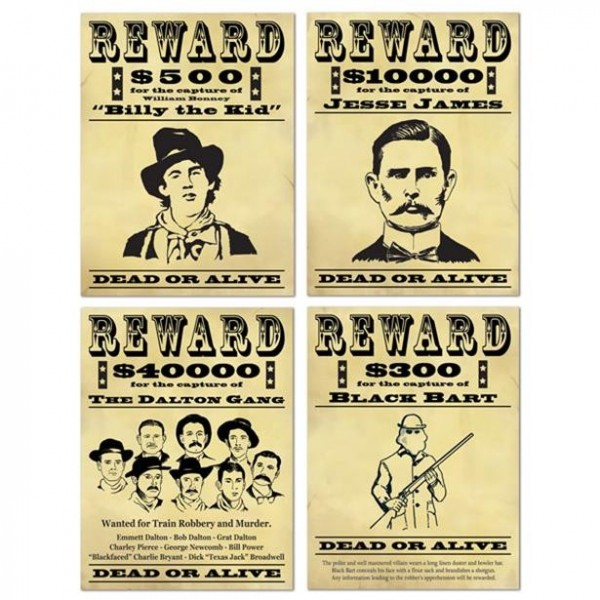 4 Wanted Poster 48cm
