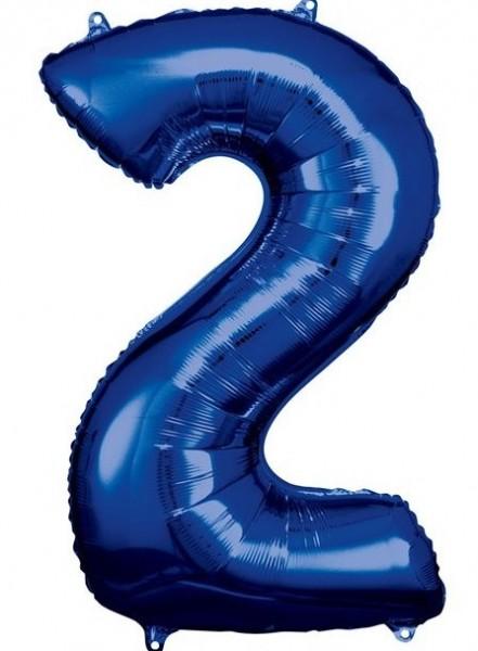 Blauer Zahl 2 Folienballon 86cm
