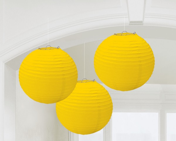 3 Summer Tale lanterns yellow 20cm