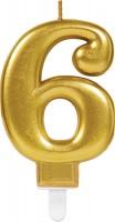 Goldene Zahlenkerze 6