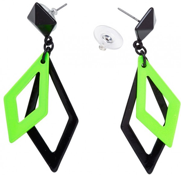 Grün-Schwarze Neon Rauten Ohrringe