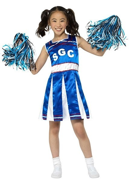 Blaues Cheerleader Girl Kinderkostüm