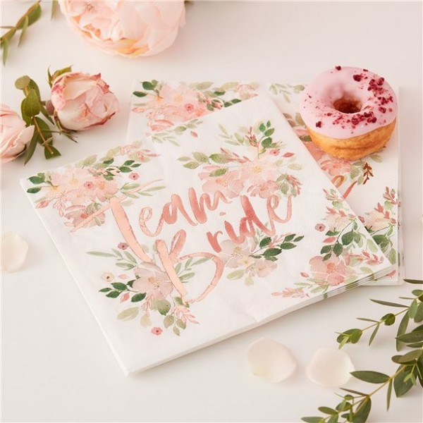 16 Floral Team Bride Napkins 33cm