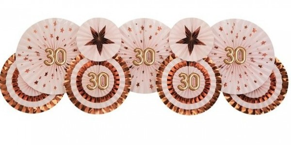 3 paper rosettes for 30th birthday Glamor and Shine