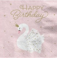 16 Royal Swan Birthday Servietten 33cm