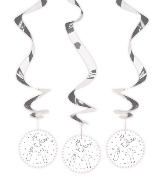 3 symboles chrétiens de décoration suspendue en spirale