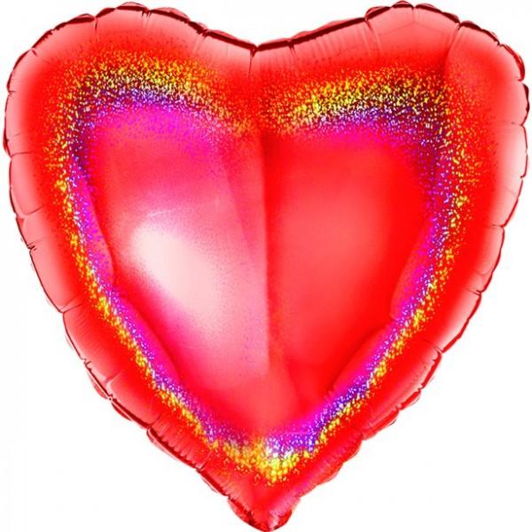 Holografischer roter Herzballon 45cm