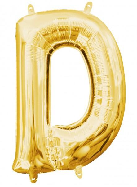 Mini foil balloon letter D gold 35cm