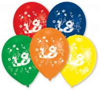 10er Set bunte Zahl 18 Luftballons