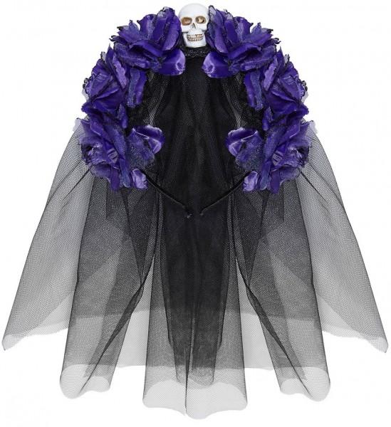 Dia De Los Muertos Brautschleier Schwarz-Violett
