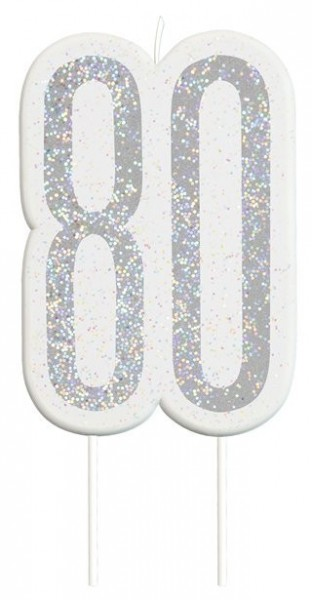 Glittering 80th Birthday cake candle silver