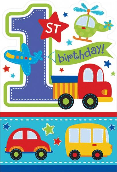 1.Geburtstag Sweet Birthday Boy Einladungskarte Spielzeug Motiv