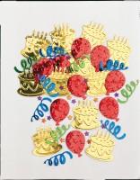 Bunte Birthday Party Streudeko Mit Geburtstagstorte & Luftballons