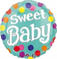 Folienballon Sweet Baby bunt gepunktet