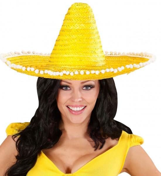 Exotischer Sombrero Mit Bommeln Gelb 50 cm